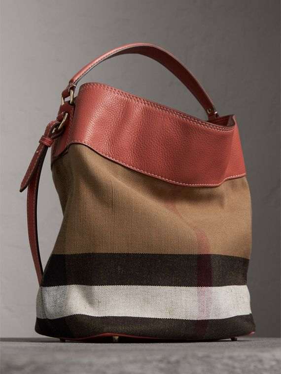 The Ashby media con pelle e motivo Canvas check (Rosso Cannella) - Donna | Burberry - cell image 3