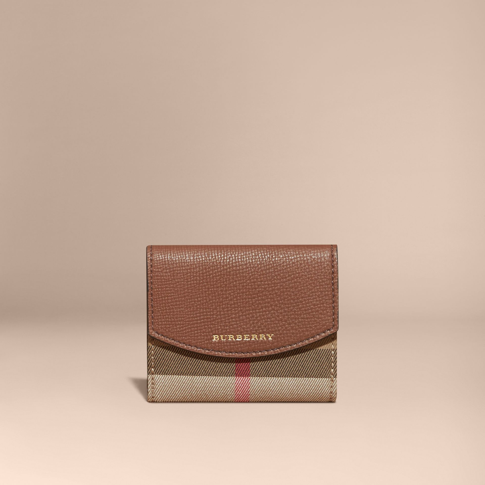 House Check and Leather Wallet in Tan - Women | Burberry - gallery image 7