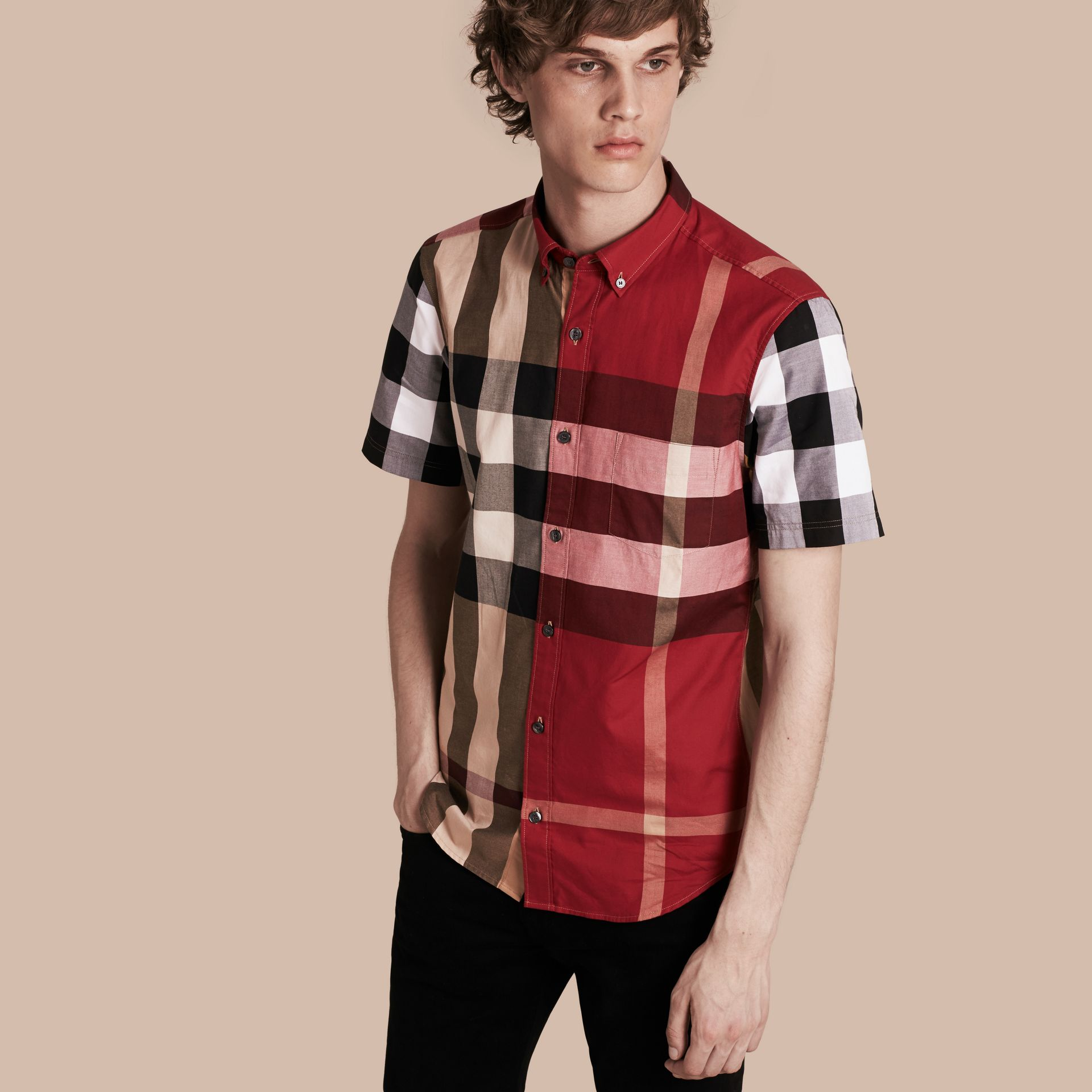 Camel Short-sleeved Colour Block Check Cotton Shirt Camel - gallery image 1