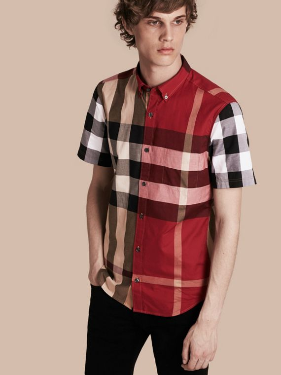 Short-sleeved Colour Block Check Cotton Shirt Camel