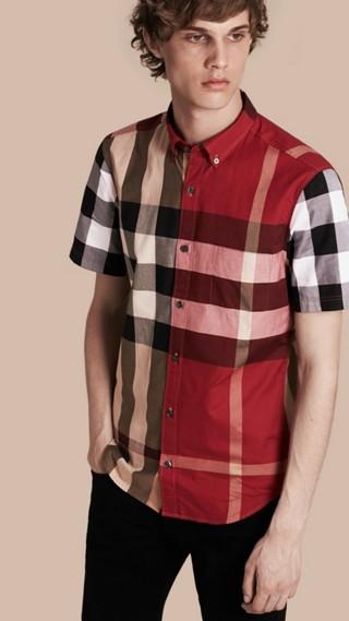 Chemise à manches courtes en coton à motif check color-block