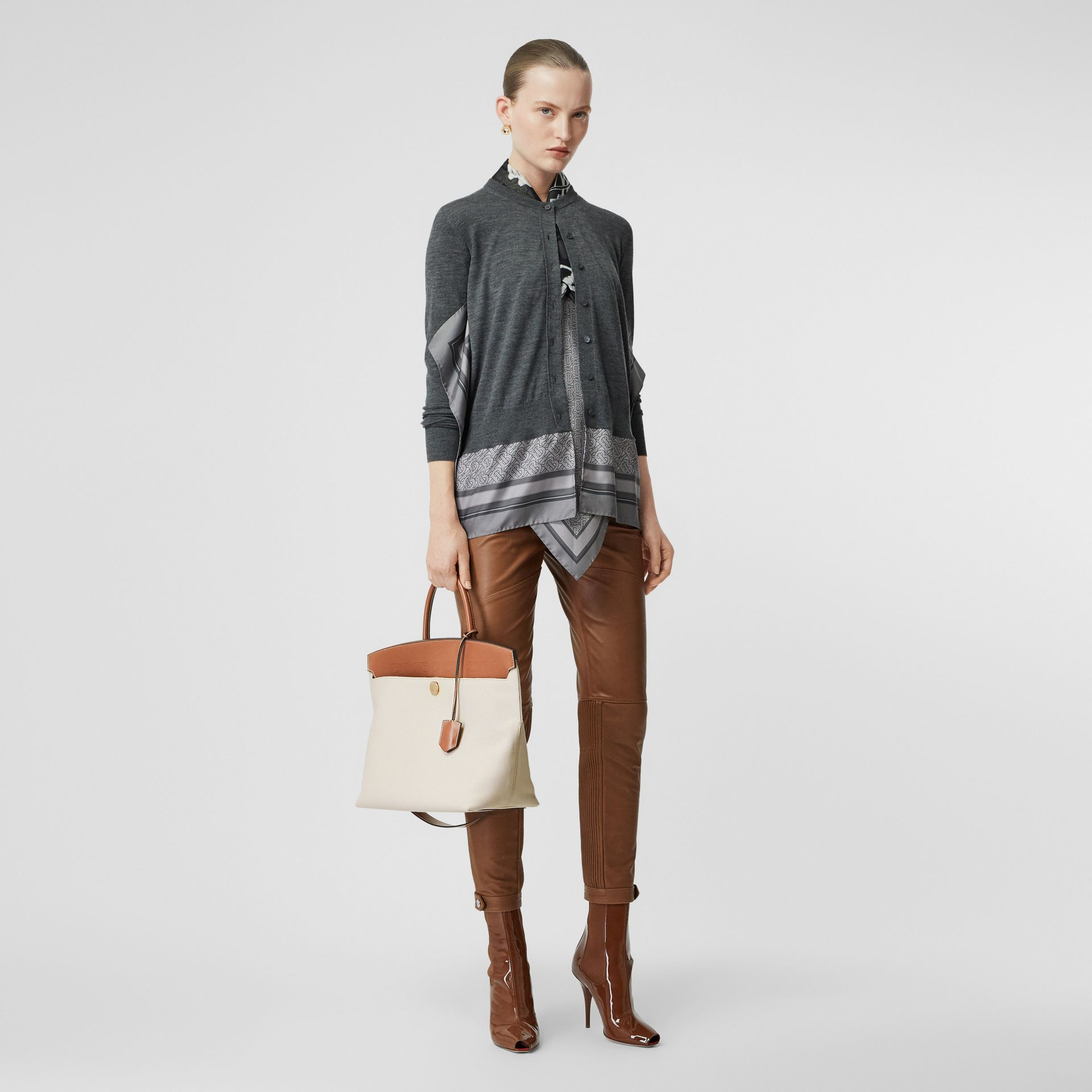 Cotton Canvas and Leather Society Top Handle Bag in Natural/malt Brown - Women | Burberry Australia - gallery image 2