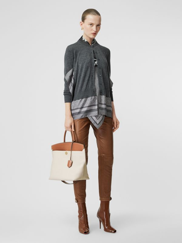 Cotton Canvas and Leather Society Top Handle Bag in Natural/malt Brown - Women | Burberry - cell image 2