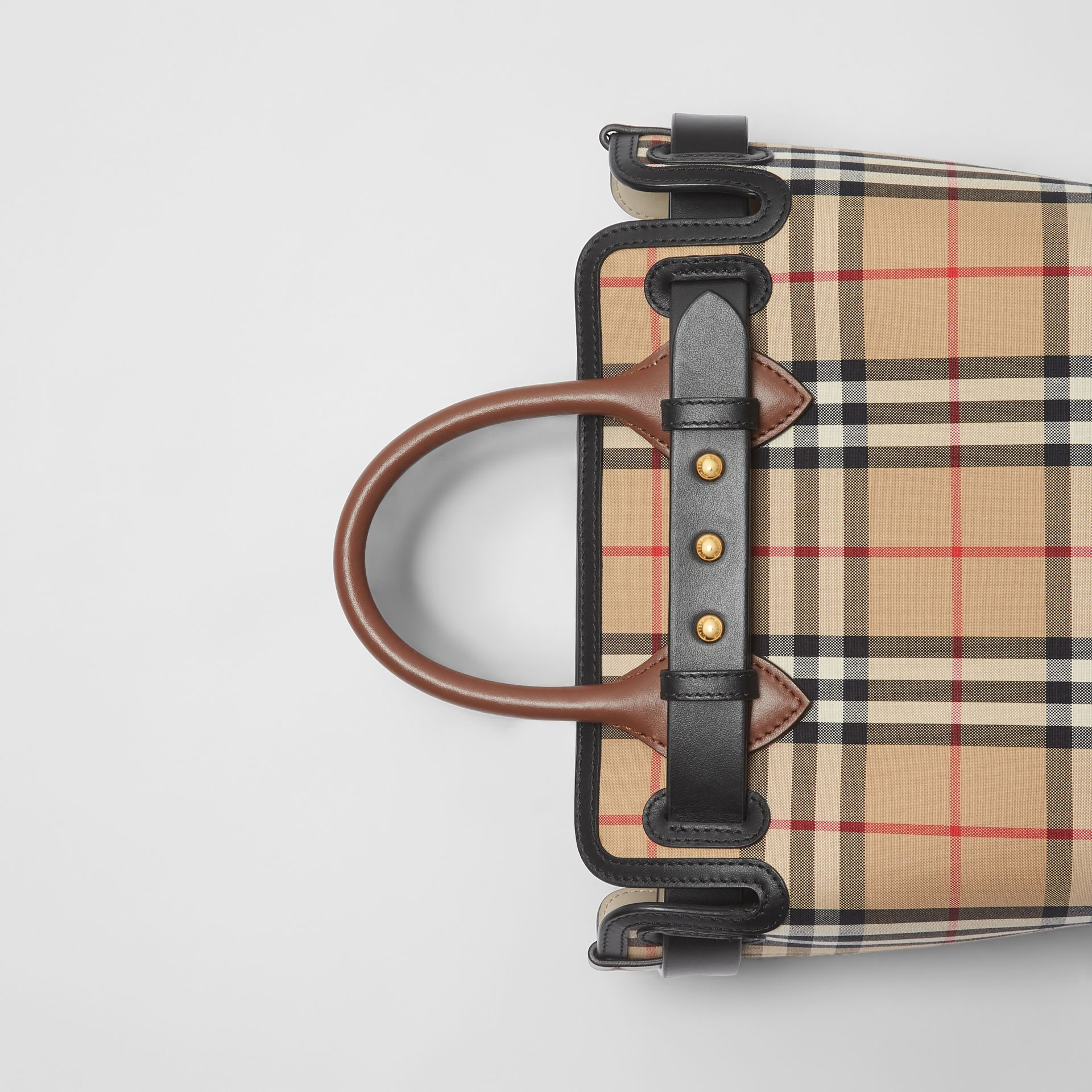 The Mini Vintage Check Triple Stud Belt Bag in Archive Beige - Women | Burberry Singapore - gallery image 1