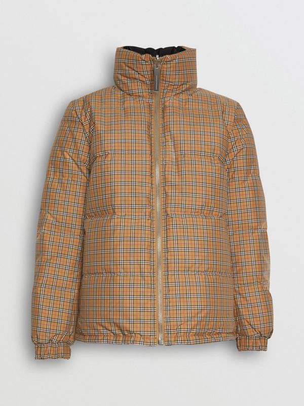 Vintage Check Reversible Puffer Jacket in Antique Yellow - Women | Burberry United Kingdom - cell image 3