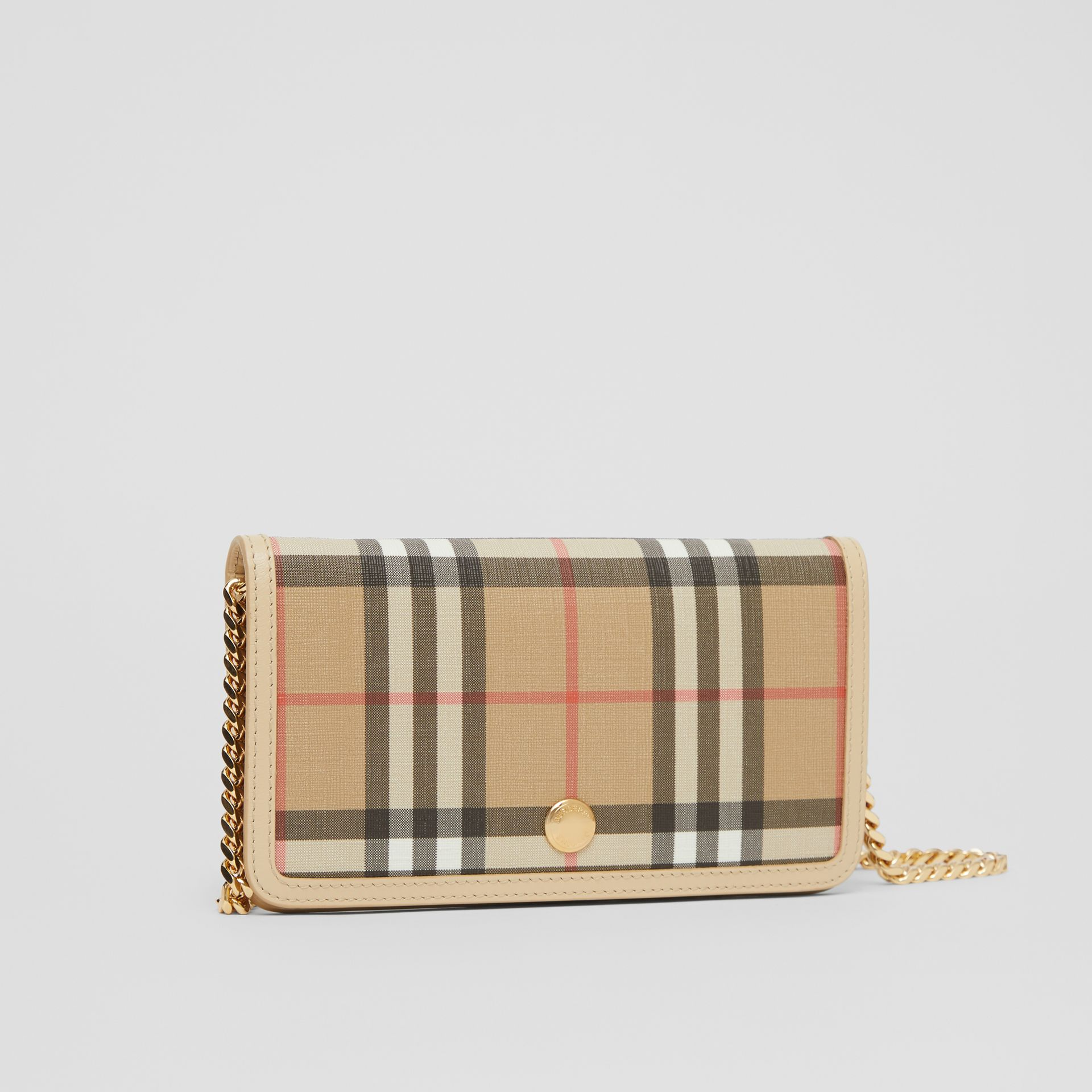 Vintage Check E-canvas Phone Wallet with Strap in Beige - Women | Burberry - gallery image 4