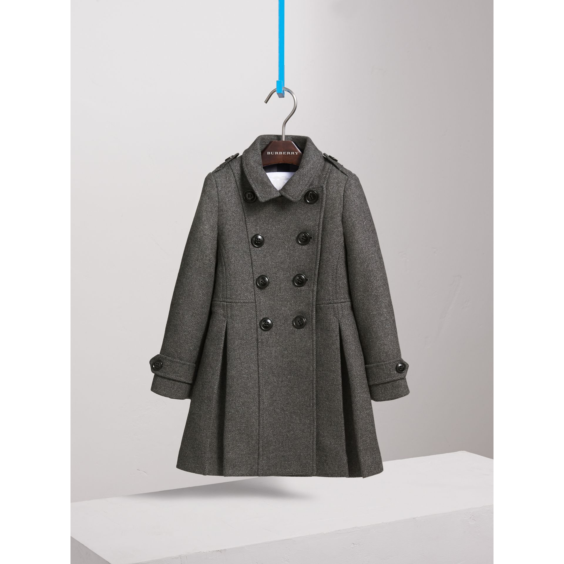 Technical Wool Cashmere Double-Breasted Coat in Mid Grey Melange - Girl | Burberry United States - gallery image 3