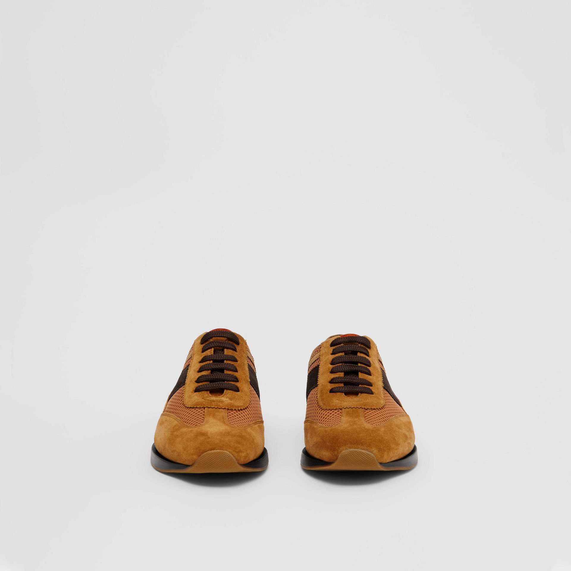 Mesh Panel Suede Lace-up Shoes in Mix Tan - Men | Burberry - gallery image 2