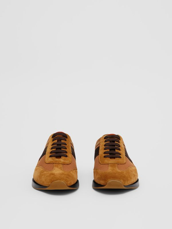 Mesh Panel Suede Lace-up Shoes in Mix Tan - Men | Burberry United Kingdom - cell image 2