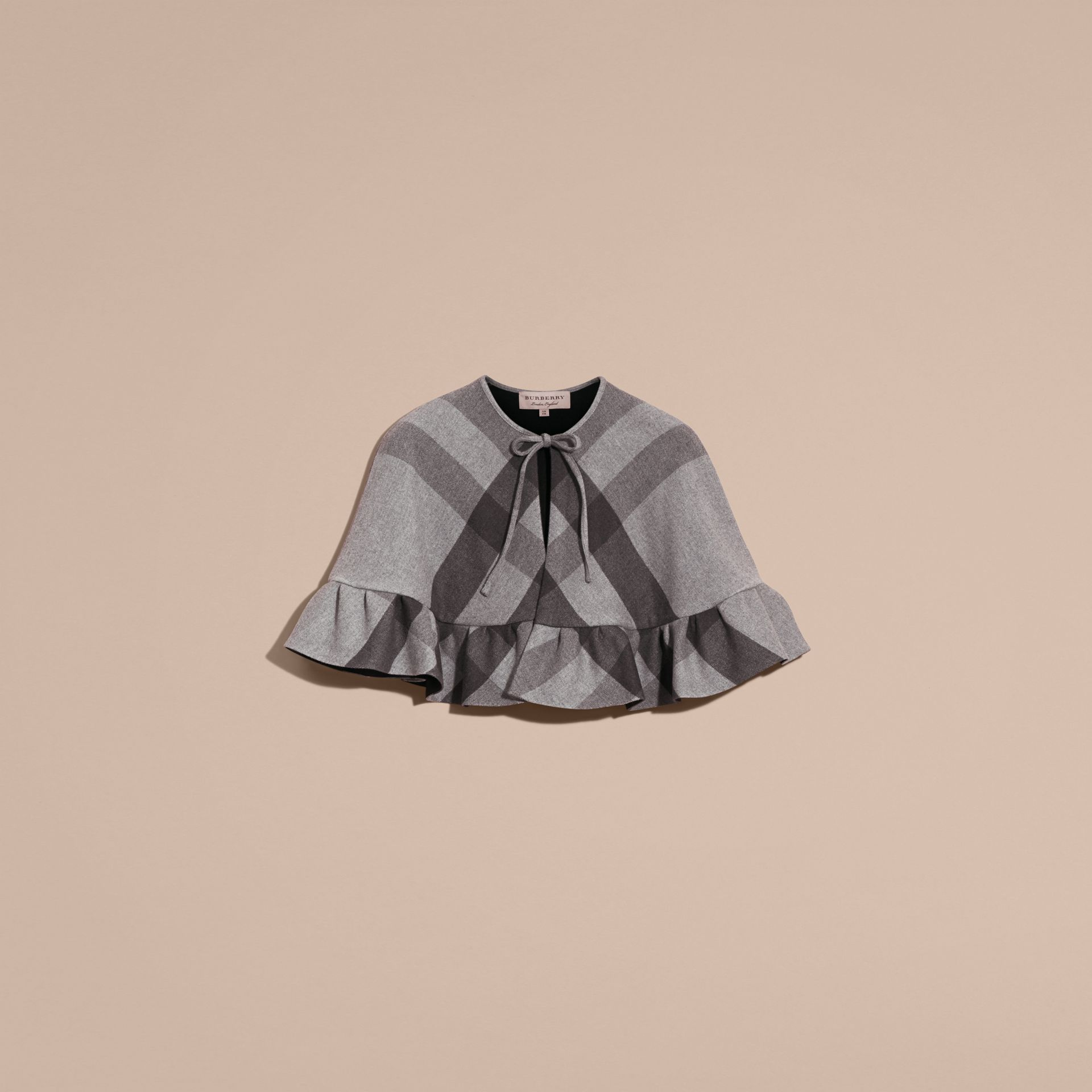 Charcoal Ruffled Hem Check Wool Cape Charcoal - gallery image 4