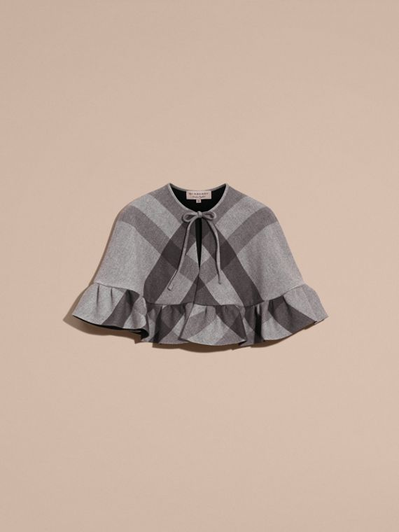 Charcoal Ruffled Hem Check Wool Cape Charcoal - cell image 3