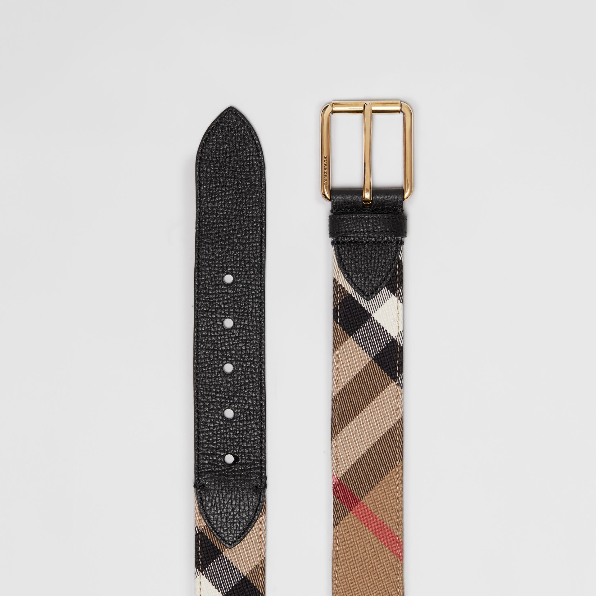 House Check and Leather Belt in Black - Men | Burberry Singapore - gallery image 5