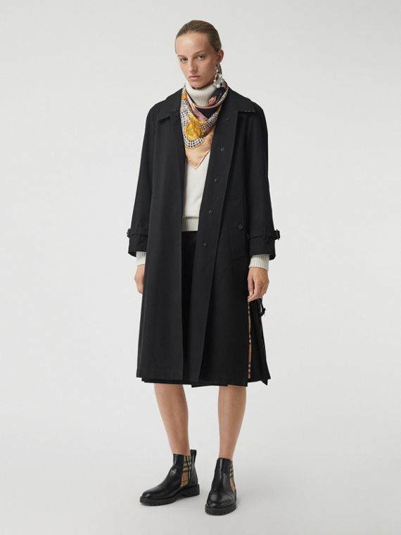 Side-slit Tropical Gabardine Trench Coat in Black