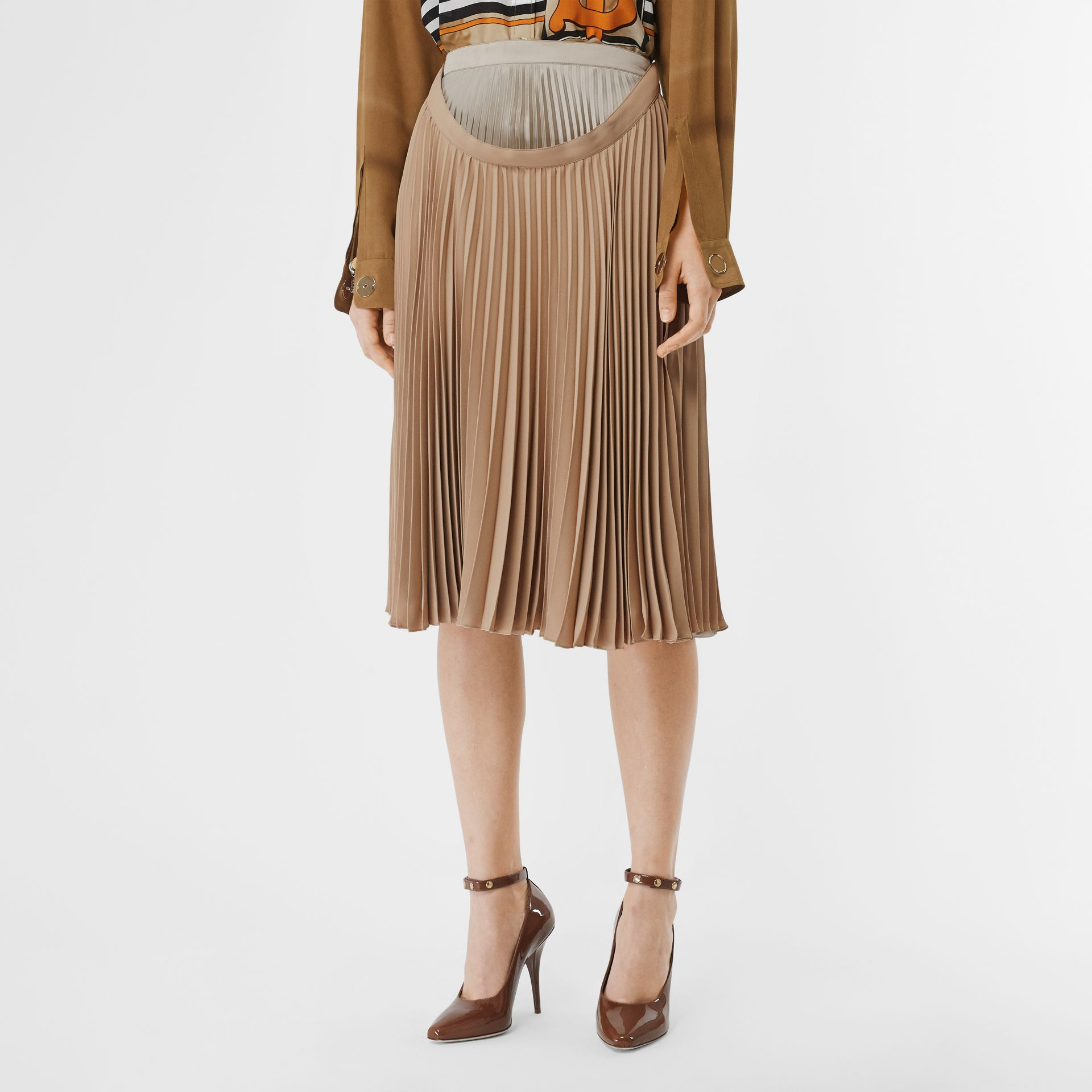 Pleated Double-waist Skirt in Sandbank - Women | Burberry Australia - gallery image 4