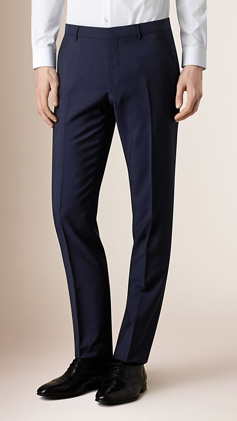 Navy Modern Fit Wool Mohair Trousers - Image 1