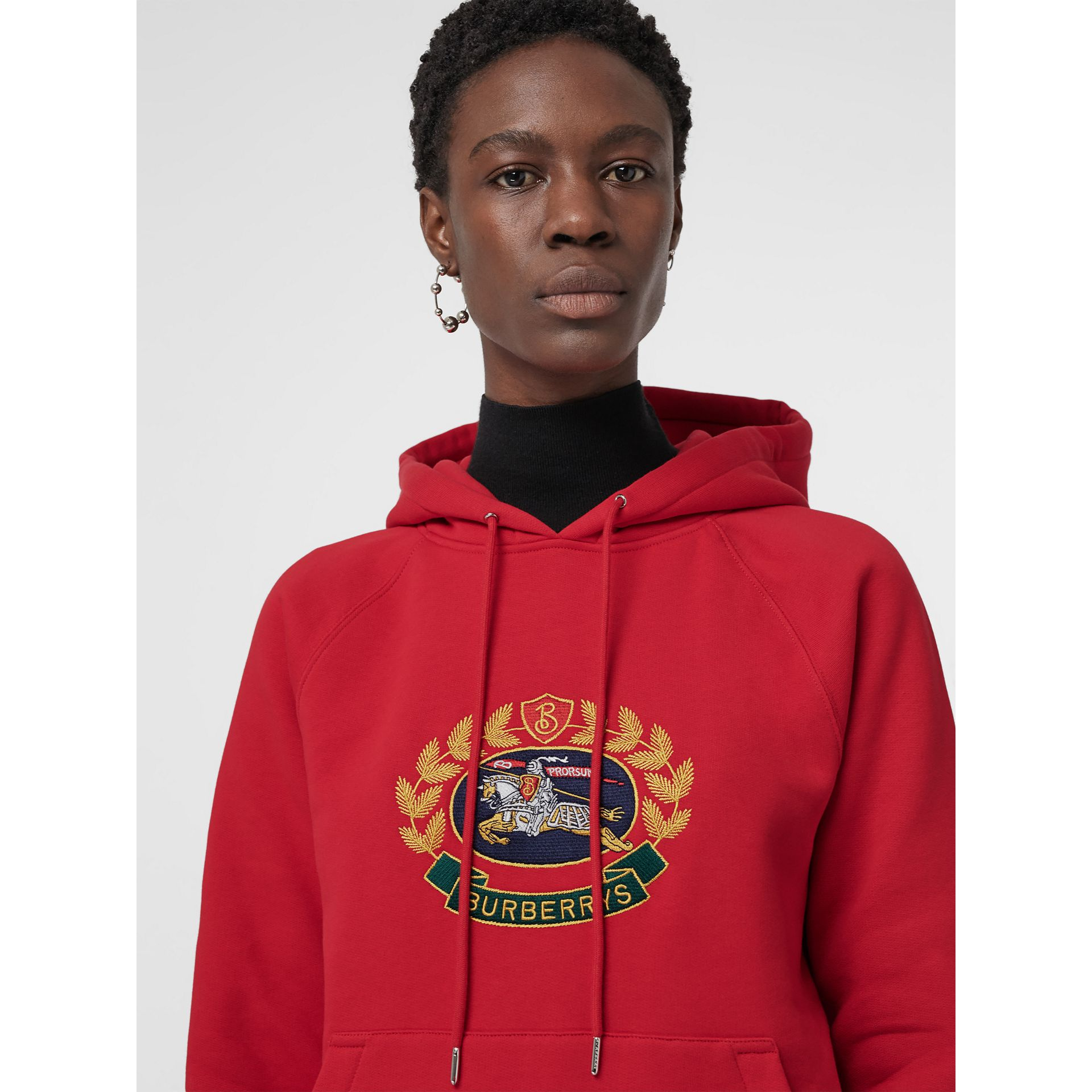 Embroidered Archive Logo Oversized Hoodie in Bright Red - Women | Burberry United Kingdom - gallery image 1