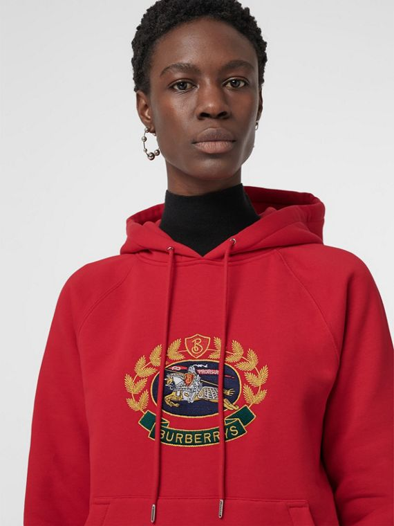 Embroidered Archive Logo Oversized Hoodie in Bright Red