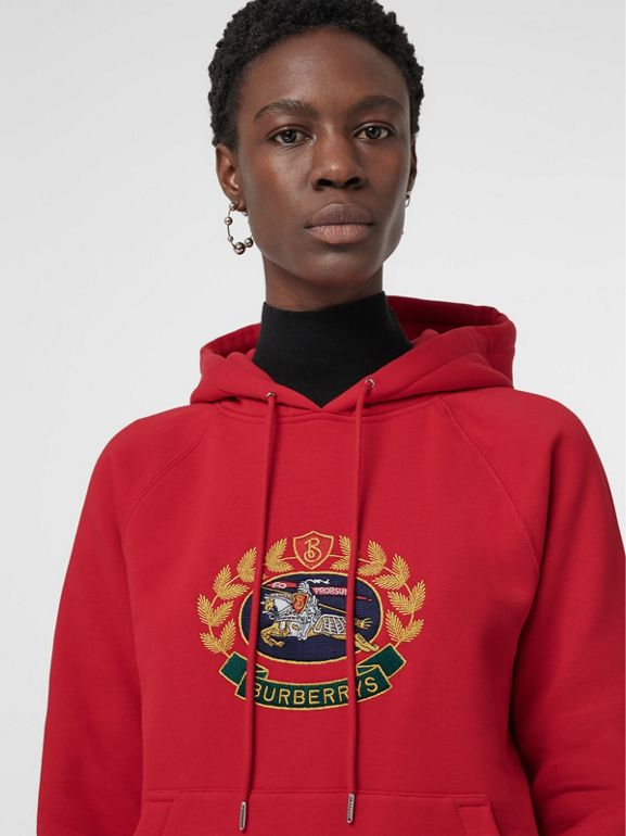 Embroidered Archive Logo Oversized Hoodie in Bright Red - Women | Burberry - cell image 1