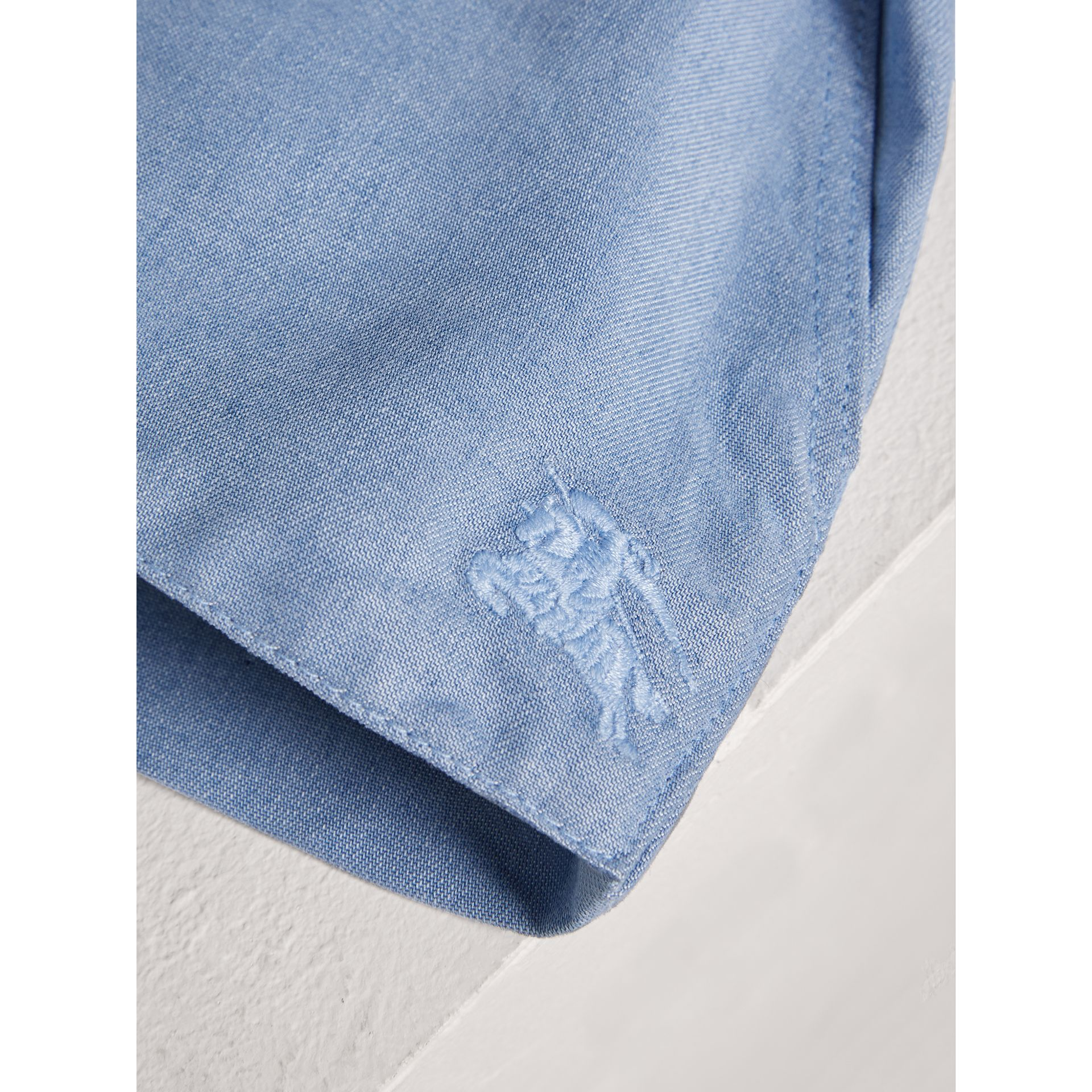Pintuck Detail Chambray Dress with Bloomers in Steel Blue | Burberry United Kingdom - gallery image 1