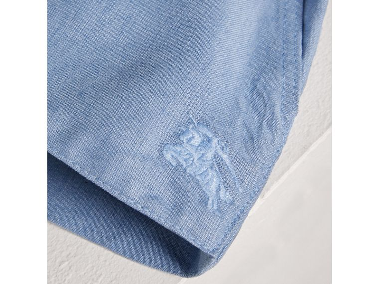 Pintuck Detail Chambray Dress with Bloomers in Steel Blue | Burberry - cell image 1