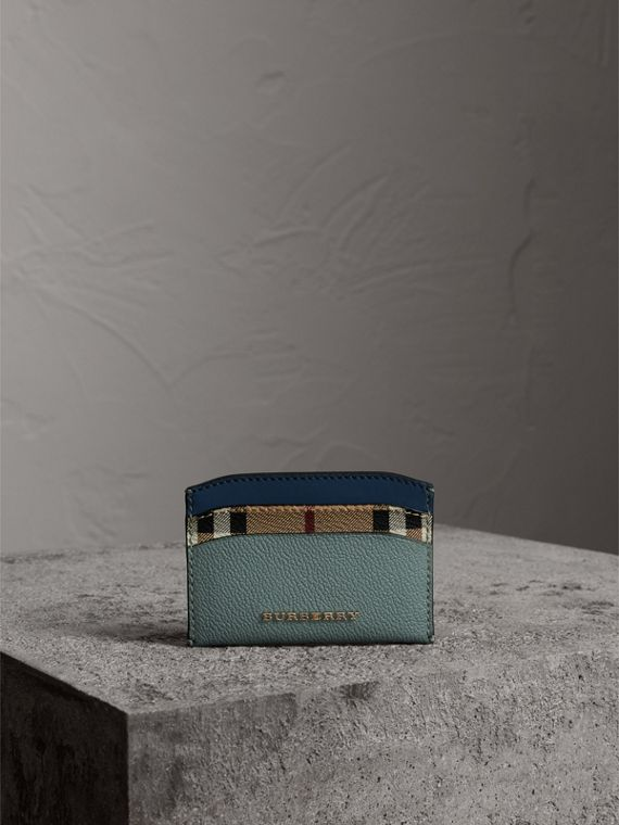 Colour Block Leather and Haymarket Check Card Case in Eucalyptus Grn/multi - Women | Burberry - cell image 3