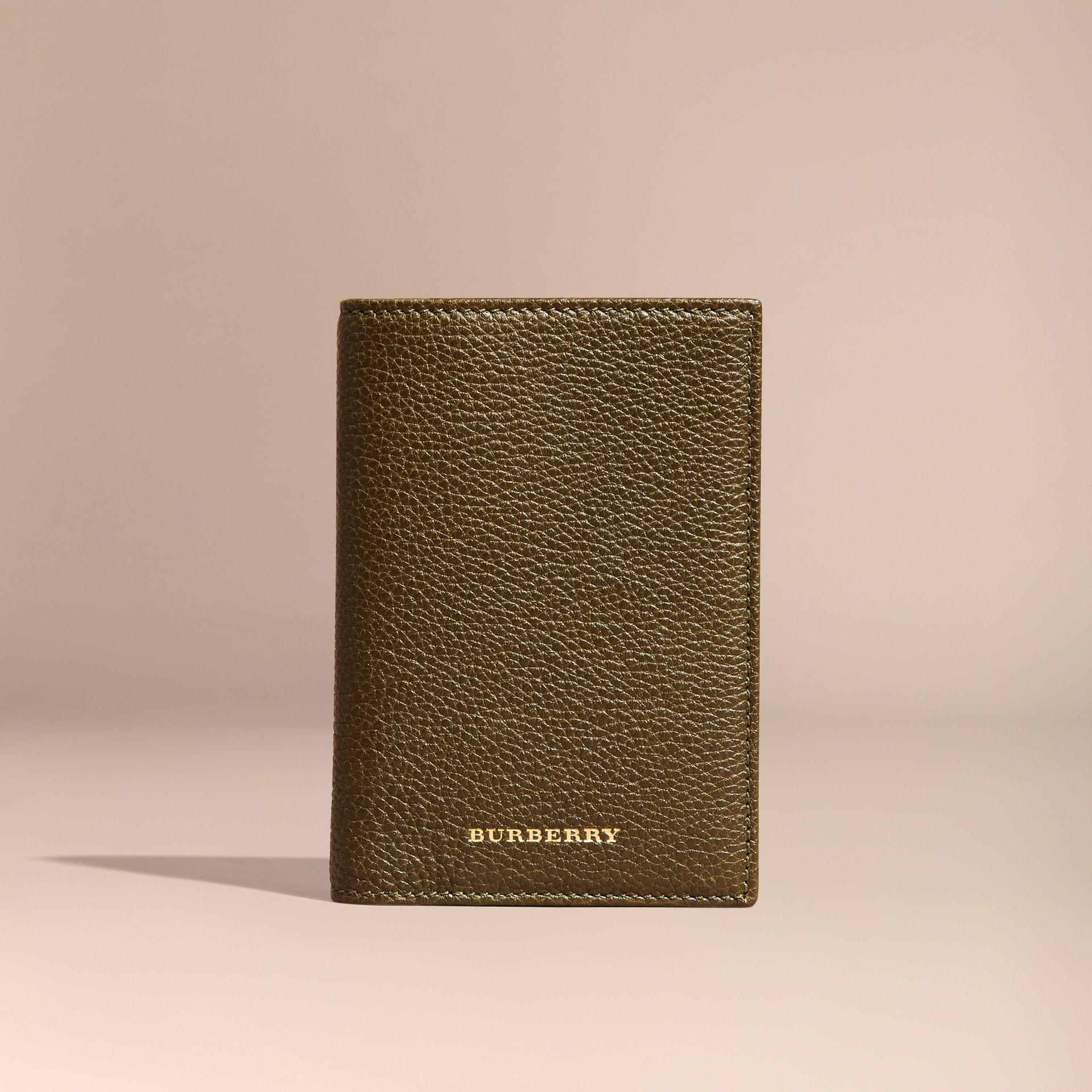 Olive Grainy Leather Passport and Card Holder Olive - gallery image 6