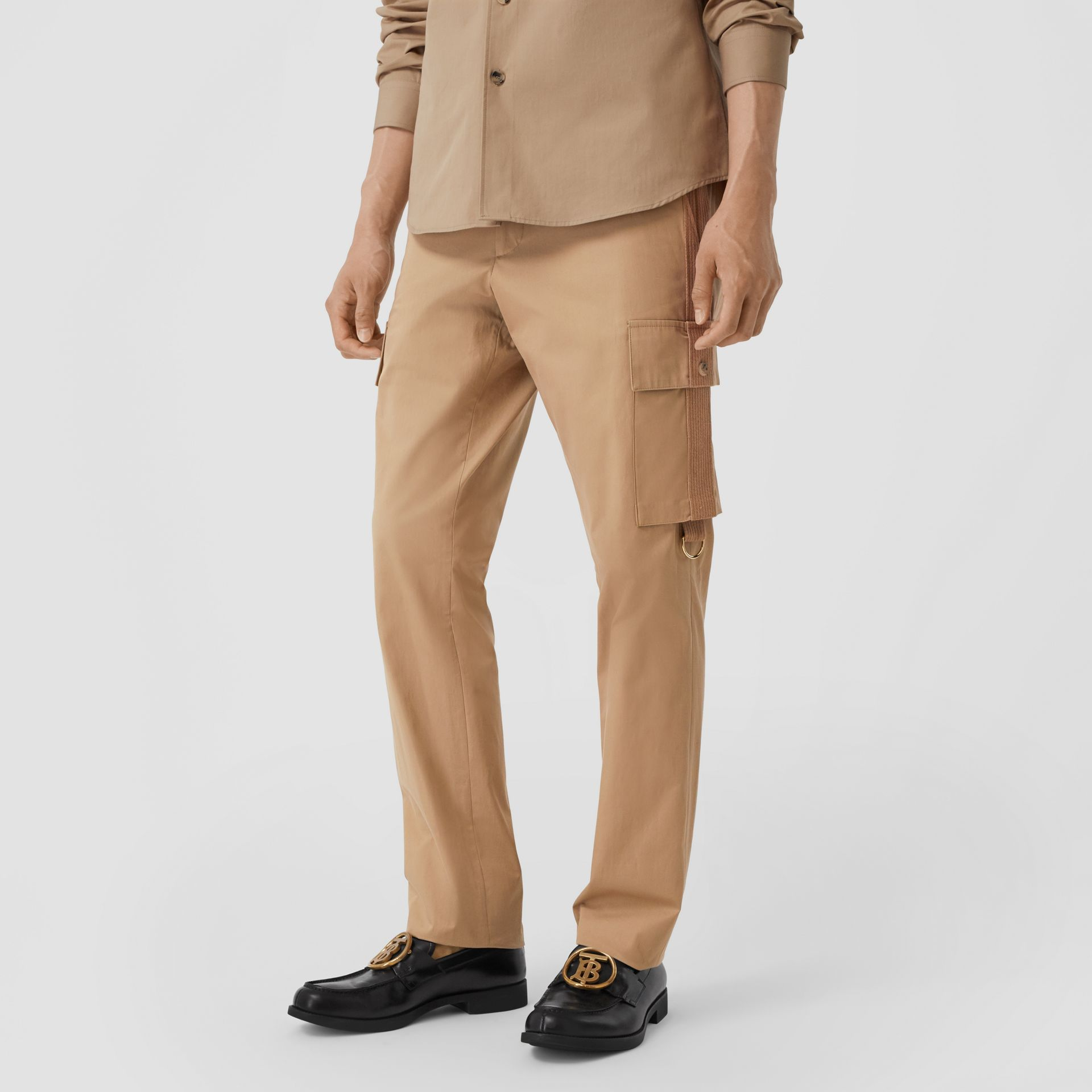 Cotton Twill Cargo Trousers in Pale Coffee - Men | Burberry - gallery image 4