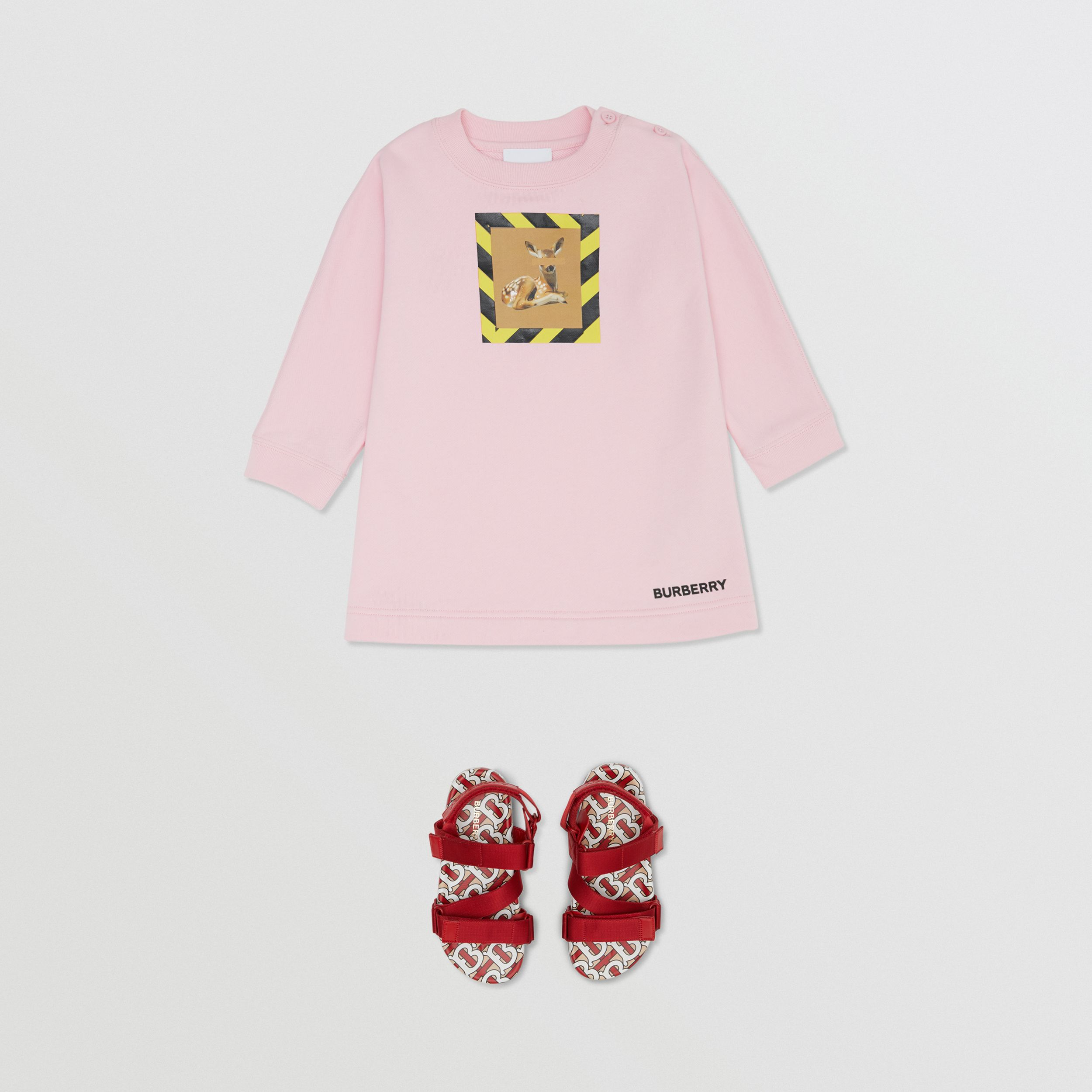 Deer Print Cotton Sweater Dress in Candy Pink - Children | Burberry - 3