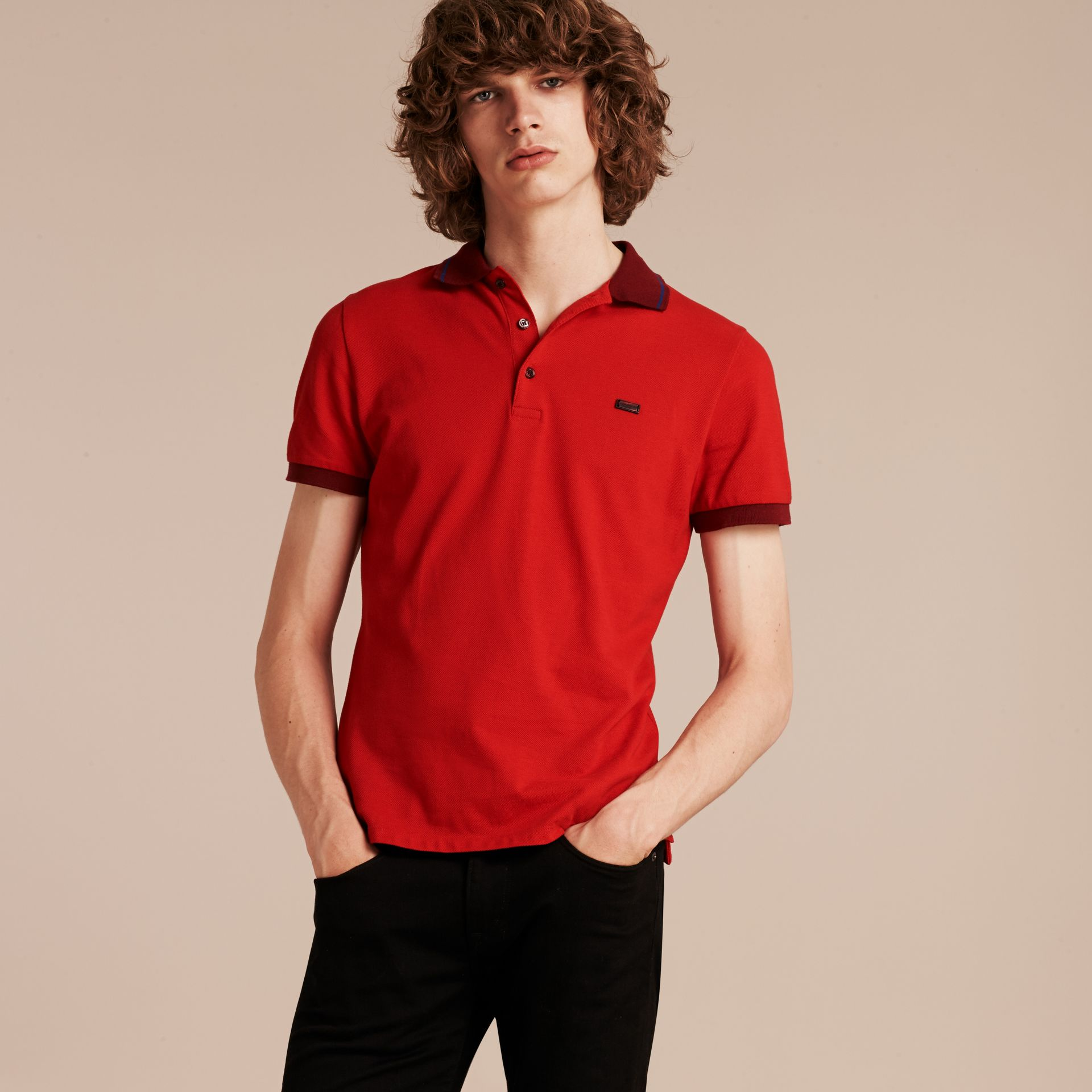 Union red/dark blue Contrast Trim Cotton Piqué Polo Shirt Union Red/dark Blue - gallery image 6