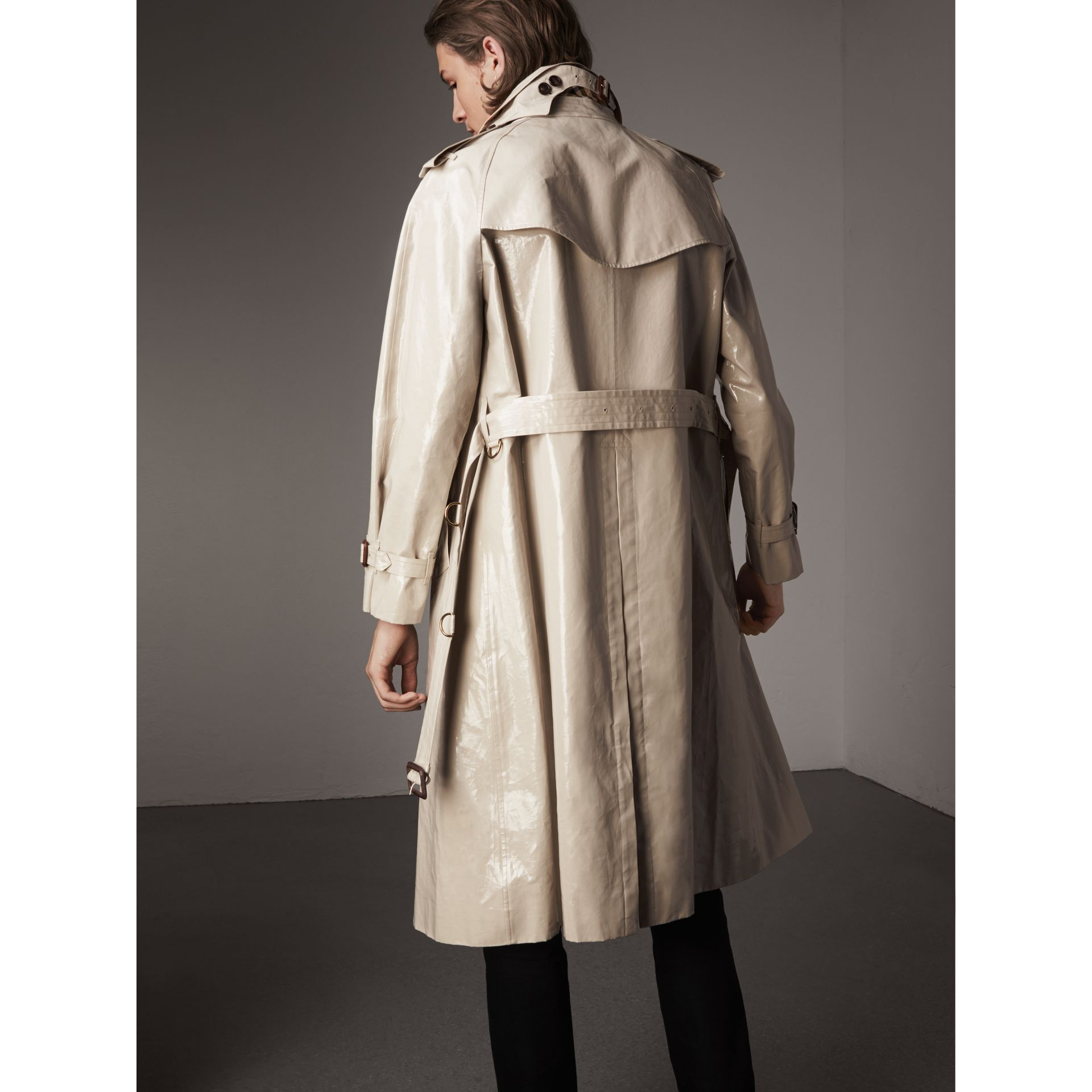 Laminated Cotton Gabardine Trench Coat in Stone - Men | Burberry Singapore - gallery image 2