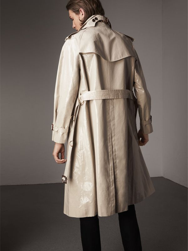 Laminated Cotton Gabardine Trench Coat in Stone - Men | Burberry - cell image 2