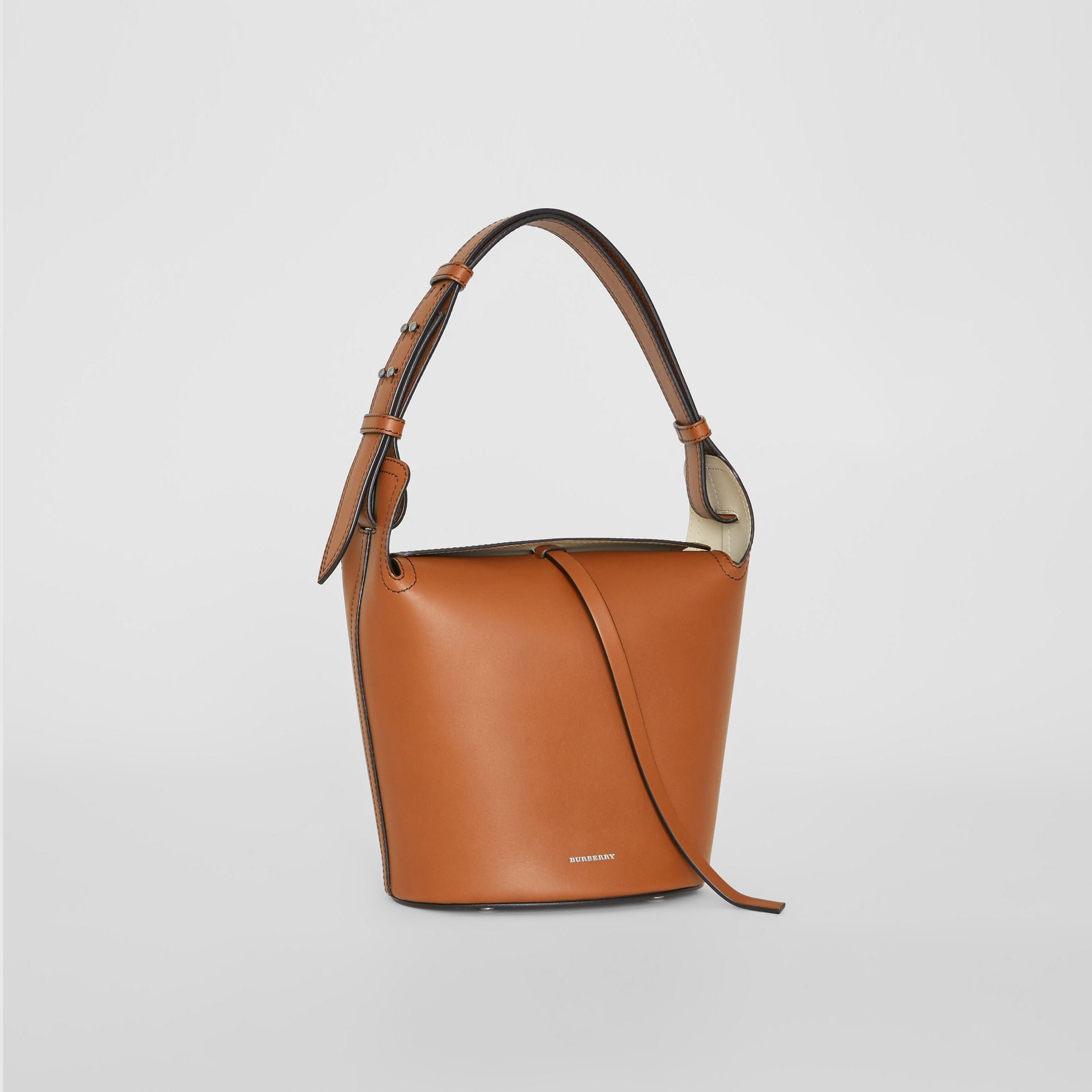 The Small Leather Bucket Bag in Tan - Women | Burberry - gallery image 4