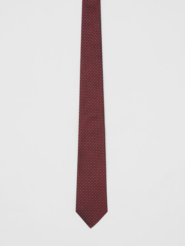 Classic Cut Micro Dot Silk Jacquard Tie in Oxblood - Men | Burberry - cell image 3