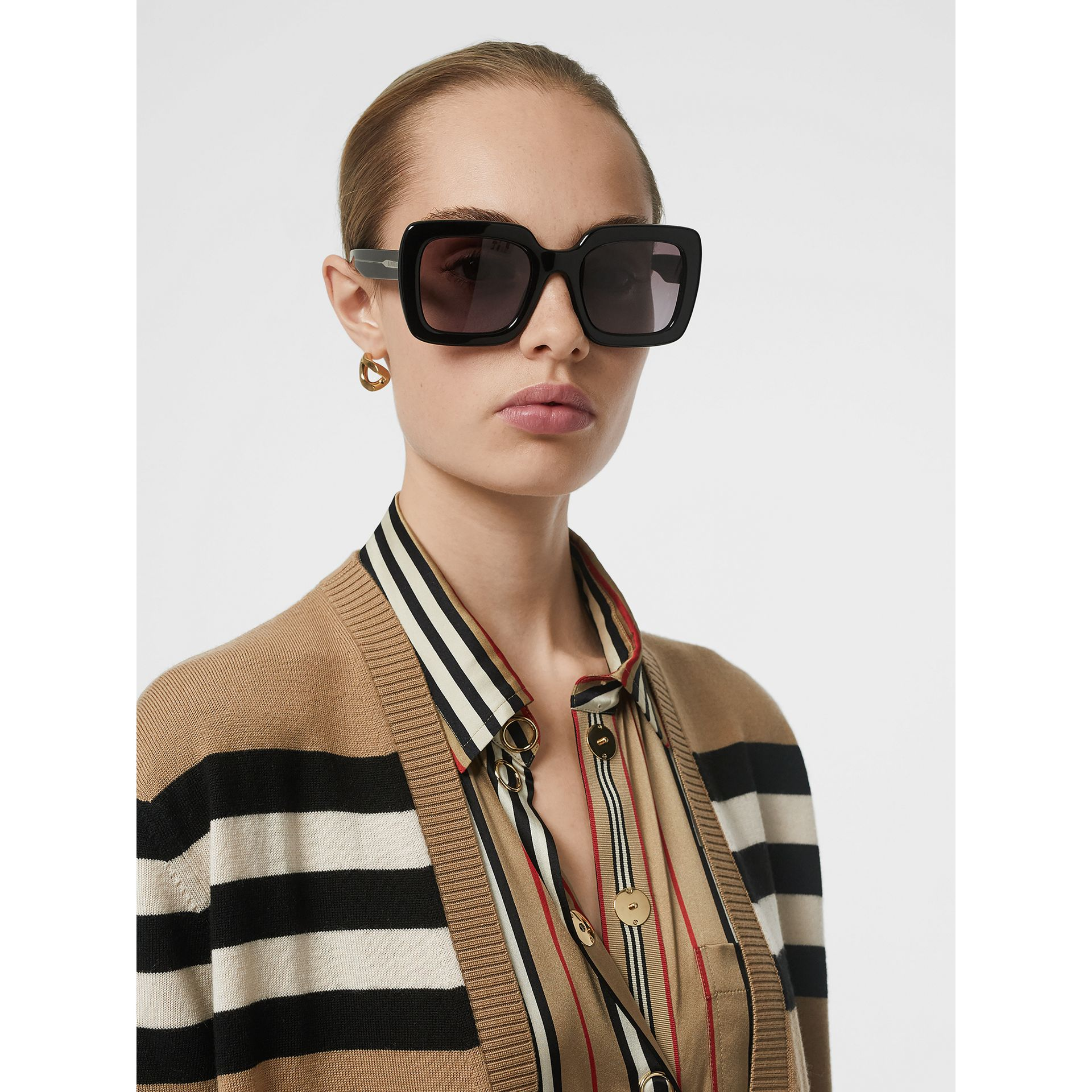 Icon Stripe Silk Shirt in Archive Beige - Women | Burberry United Kingdom - gallery image 1