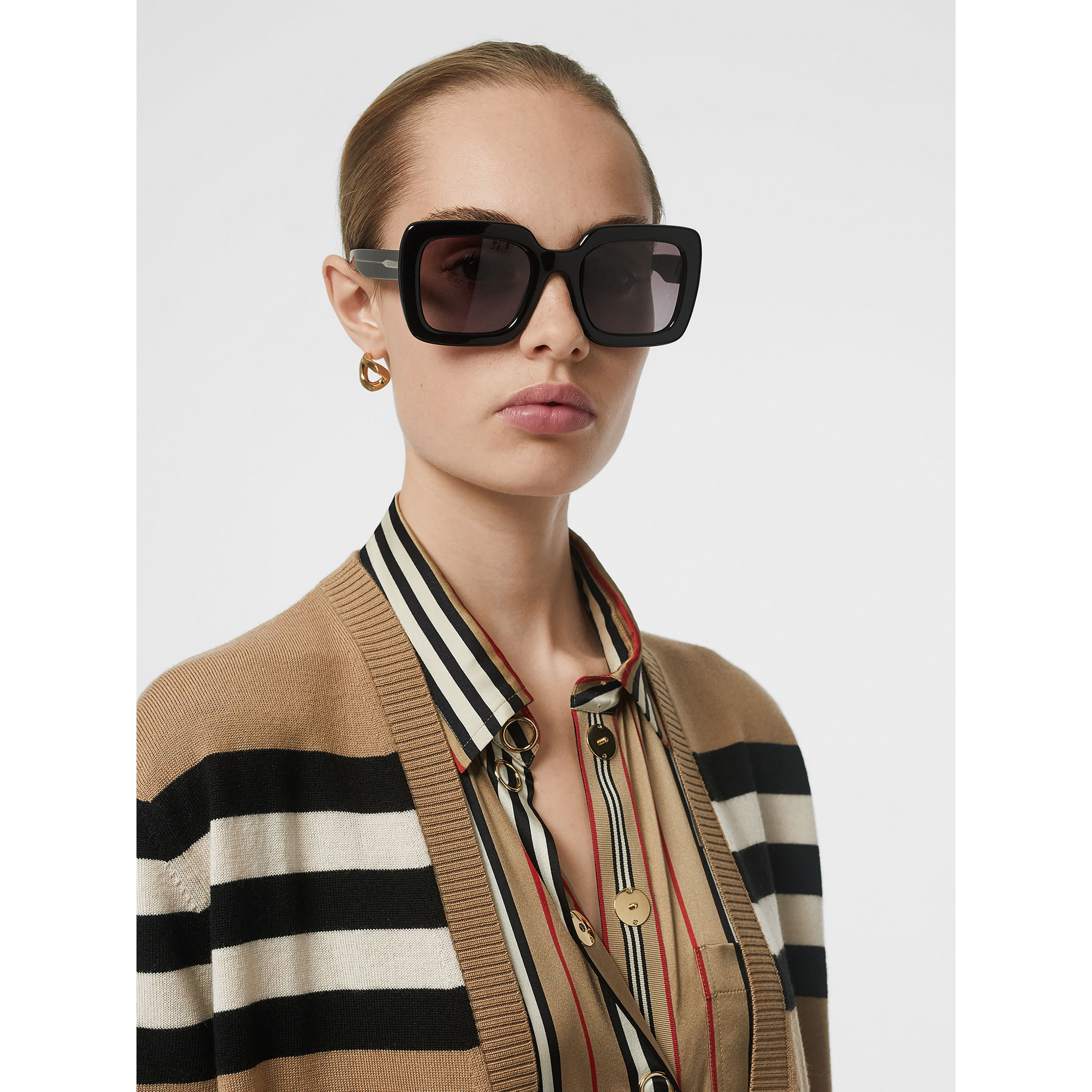 Icon Stripe Silk Shirt in Archive Beige - Women | Burberry - 2
