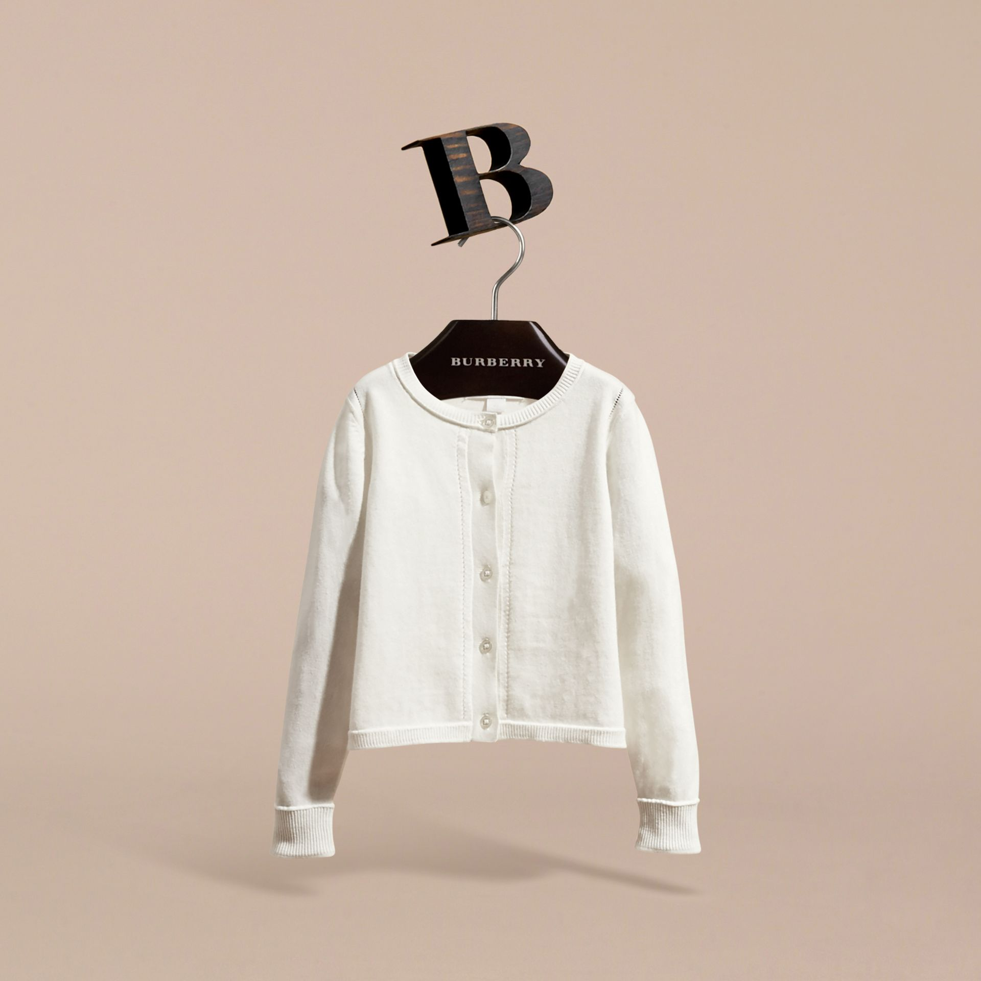 Check Cuff Cotton Knit Cardigan in White - Girl | Burberry - gallery image 3