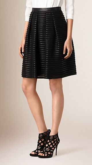 Leather and Silk A-line Skirt