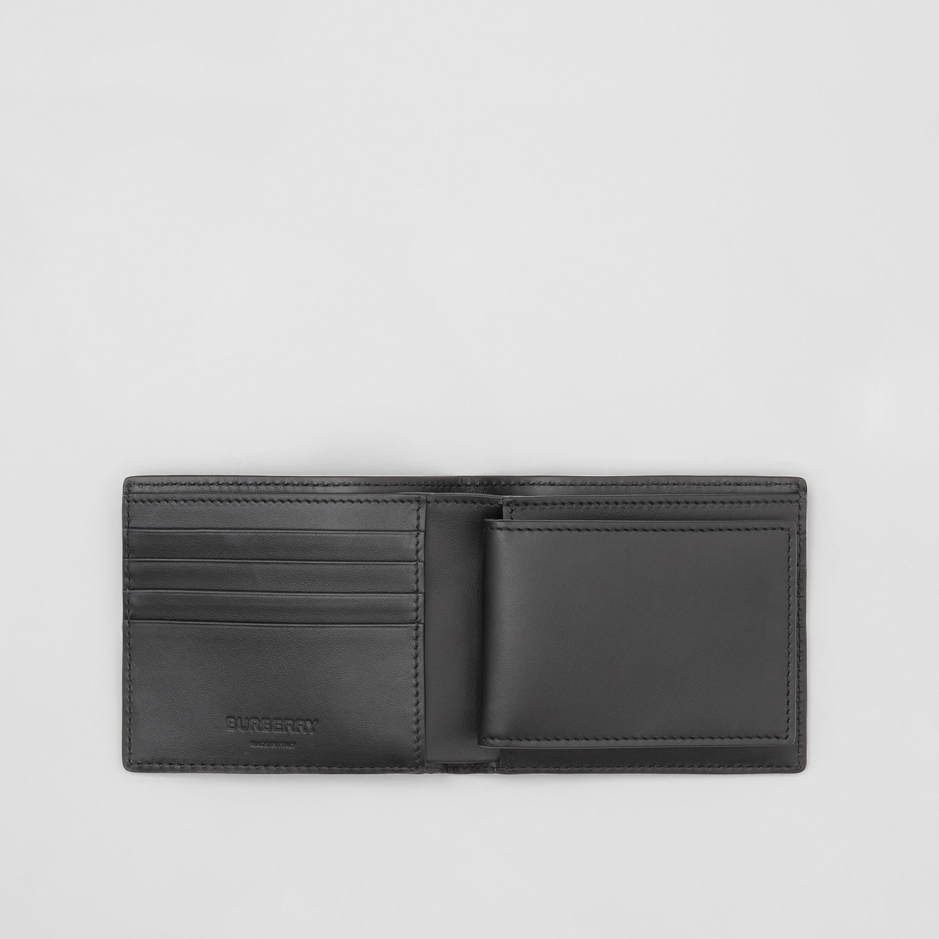 Monogram Leather Bifold Wallet with ID Card Case in Black - Men | Burberry - gallery image 2