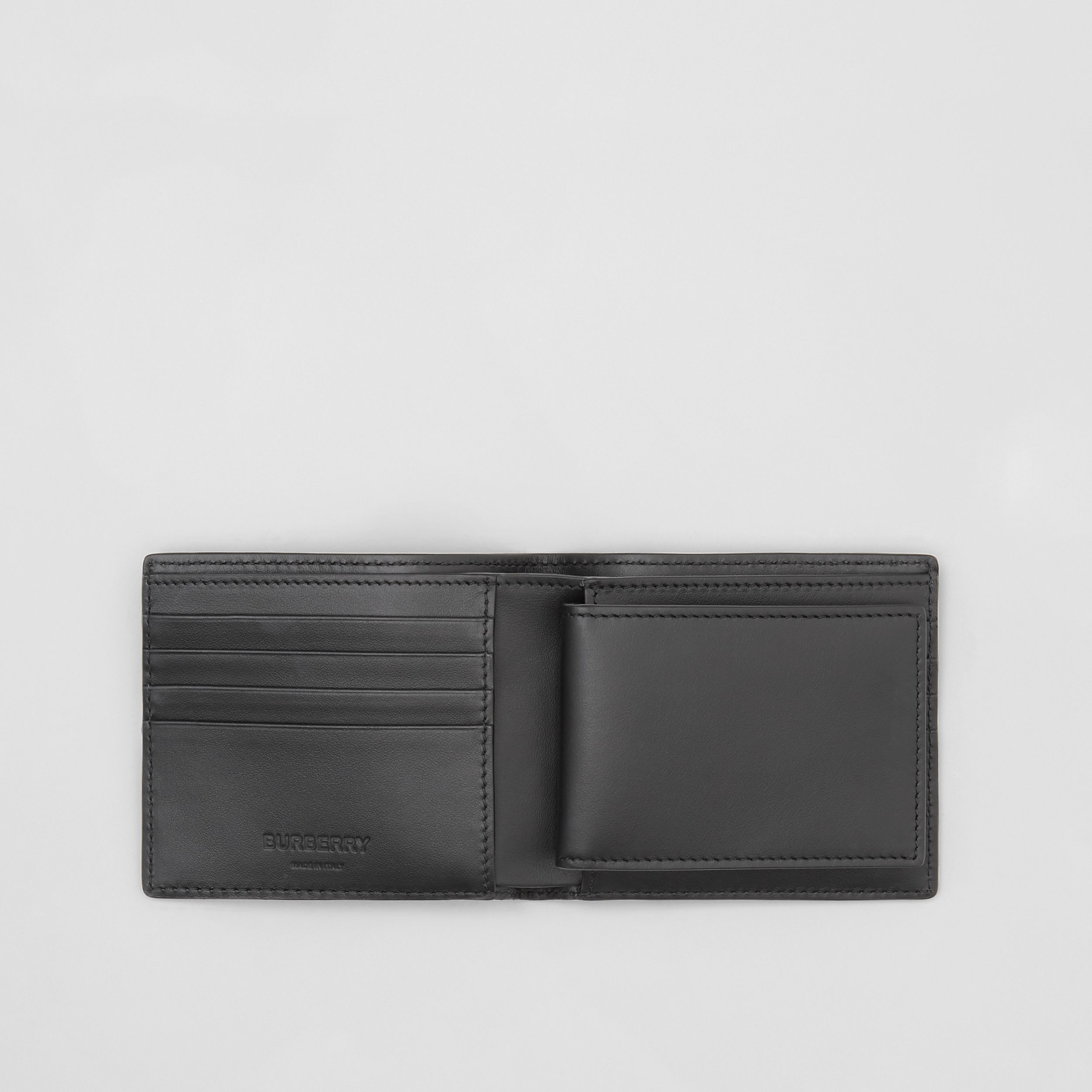 Monogram Leather Bifold Wallet with ID Card Case in Black - Men | Burberry Canada - 3