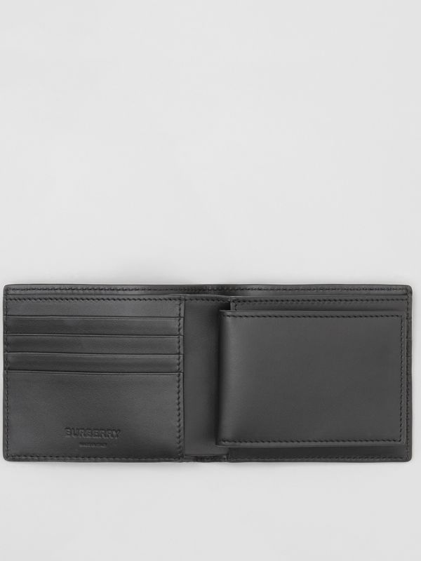 Monogram Leather Bifold Wallet with ID Card Case in Black - Men | Burberry United States - cell image 2