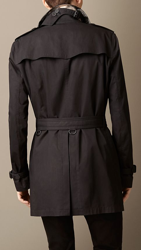 Black Cotton Twill Trench Coat - Image 2