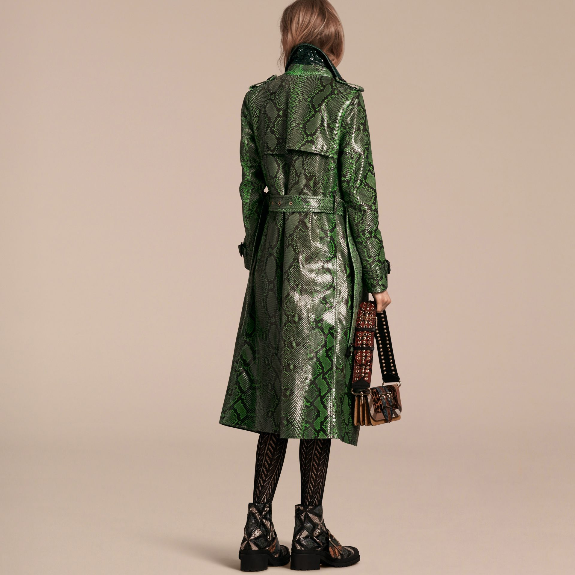 Bright green Unlined Python Trench Coat - gallery image 3