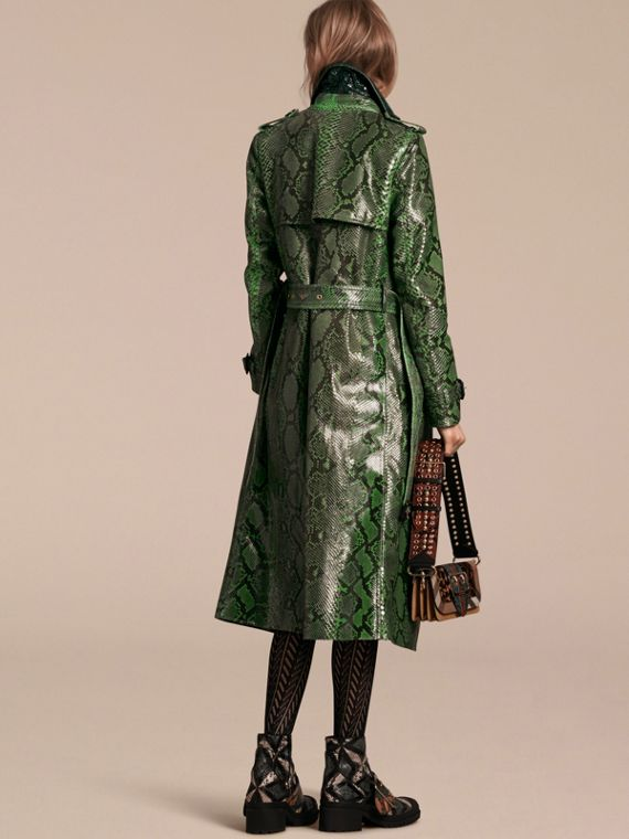 Bright green Unlined Python Trench Coat - cell image 2