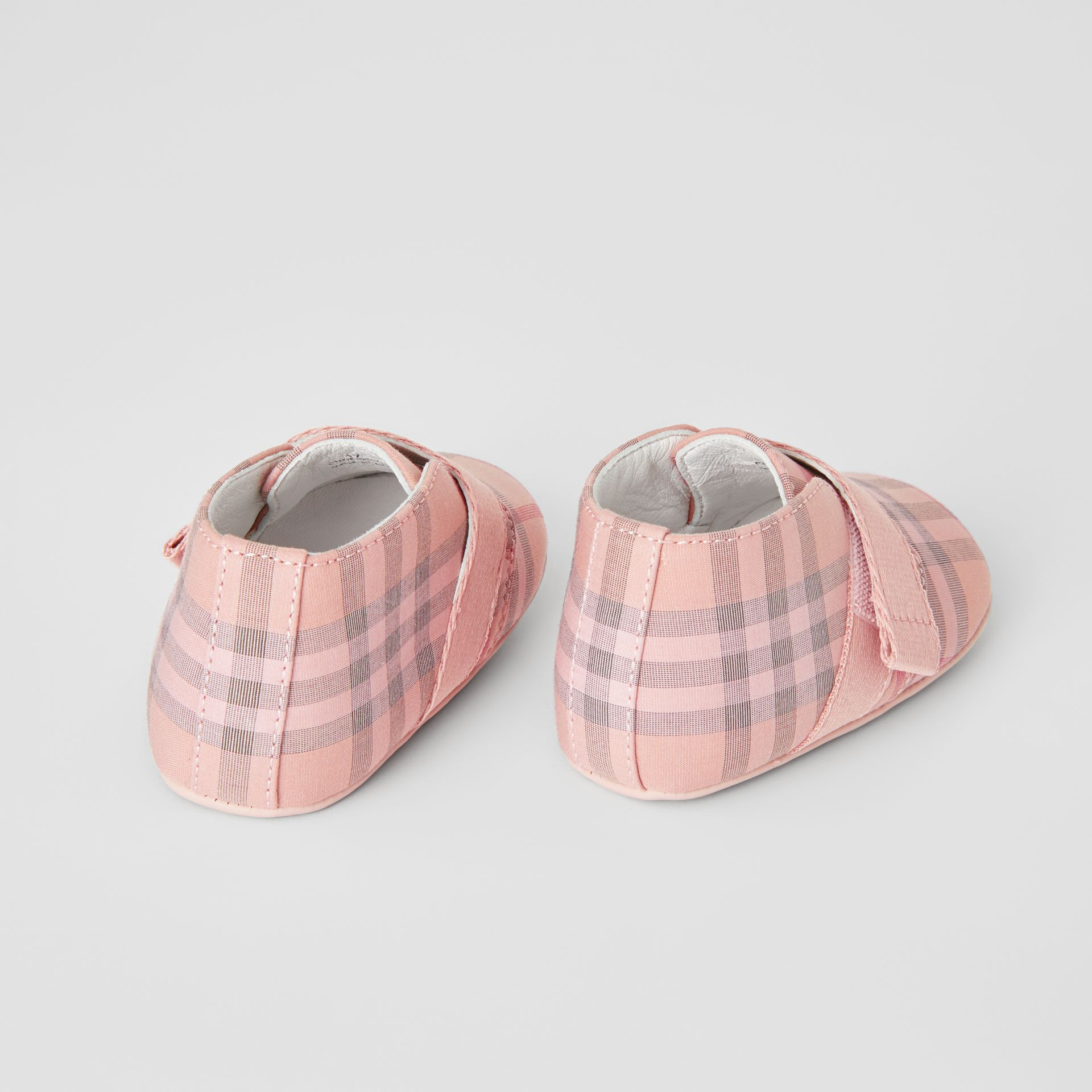 Check Cotton and Leather Shoes in Light Rose - Children | Burberry - gallery image 2