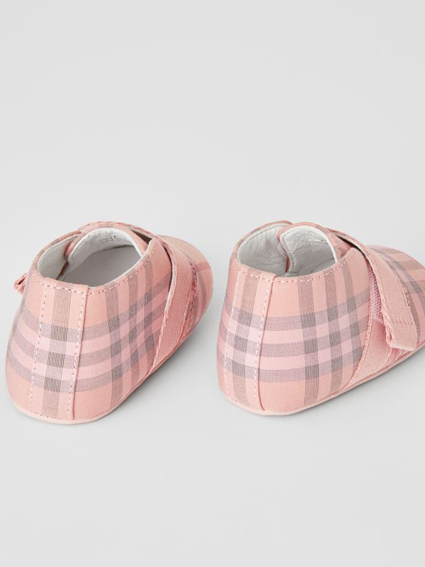 Check Cotton and Leather Shoes in Light Rose - Children | Burberry - cell image 2