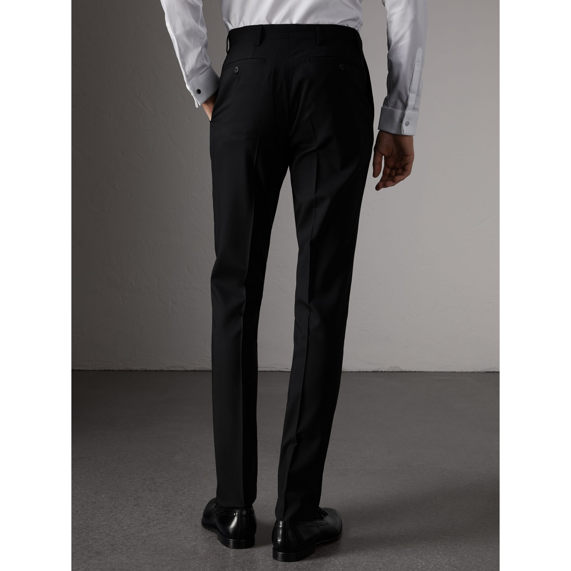Slim Fit Wool Trousers in Black - Men | Burberry - gallery image 3