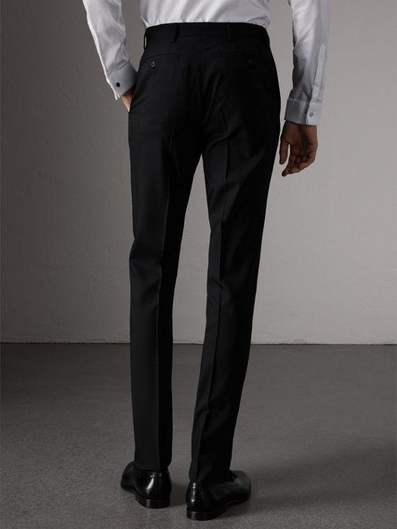 Slim Fit Wool Trousers in Black - Men | Burberry Canada - cell image 2