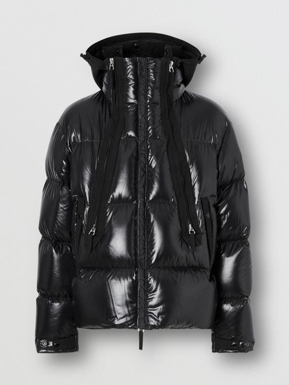 Packaway Hood Puffer Jacket in Black
