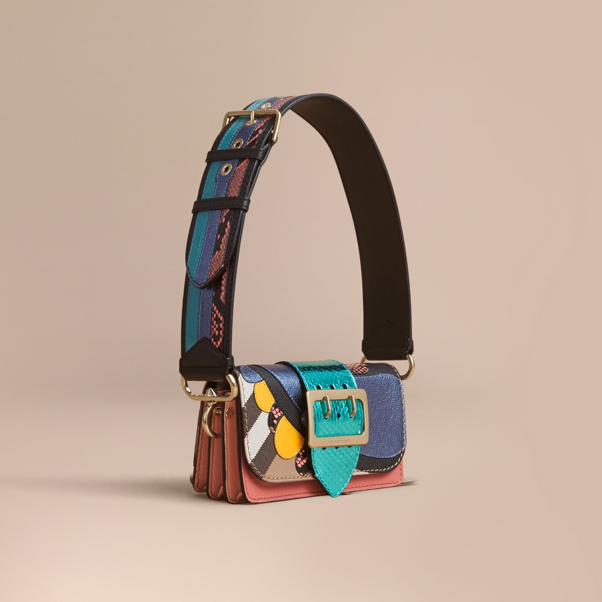 The Small Buckle Bag in House Check and Leather - gallery image 1