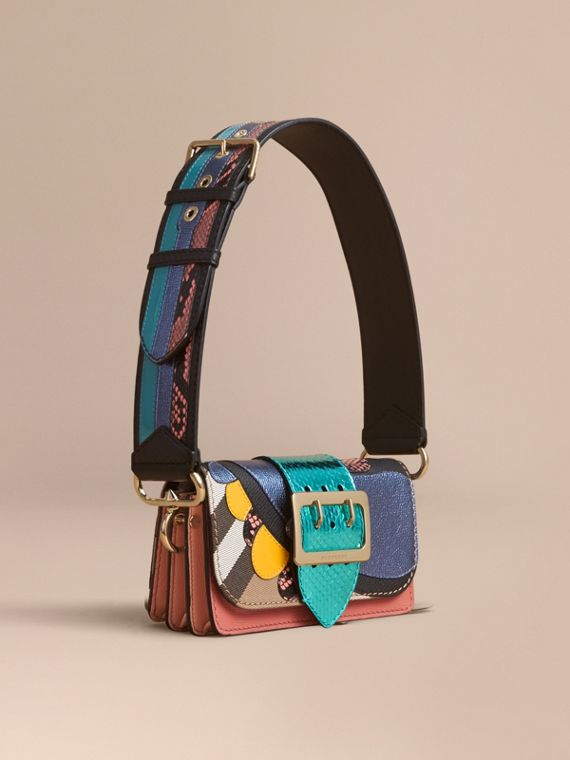 The Small Buckle Bag in House Check and Leather Teal Blue